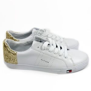 afb3c33e1 Tommy Hilfiger Shoes - Tommy Hilfiger Lune Sneakers White Gold Glitter